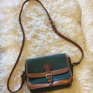 Vintage green and brown leather crossbody bag
